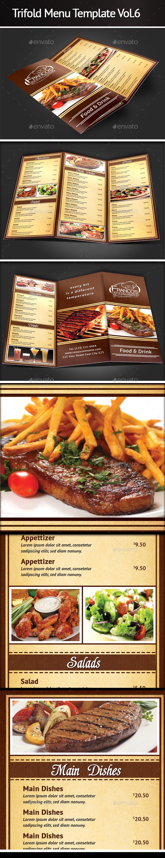 Trifold Menu Template Vol.6 - Food Menus Print Templates