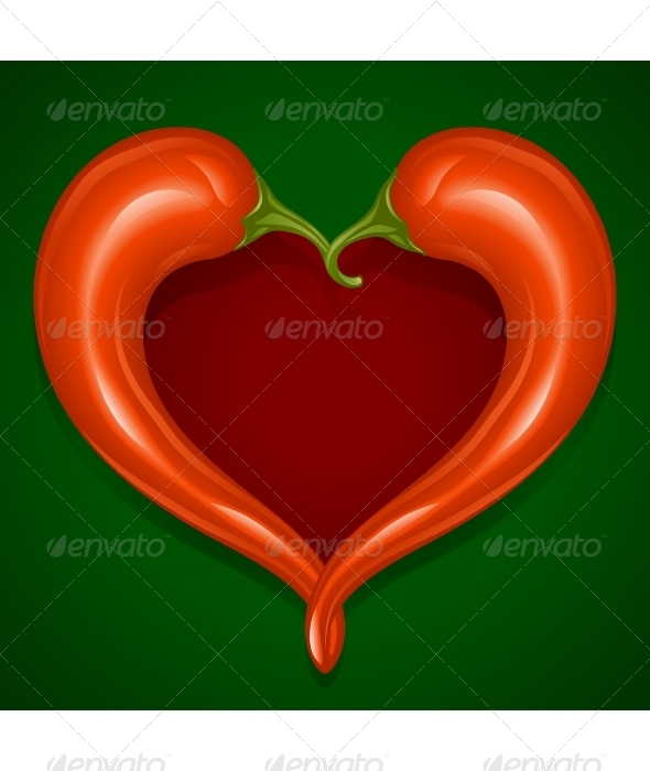 Two Red Hot chilli pepper frame - Food Objects