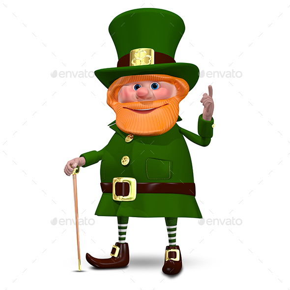 3D Illustration of Saint Patrick with a Cane - Characters 3D Renders