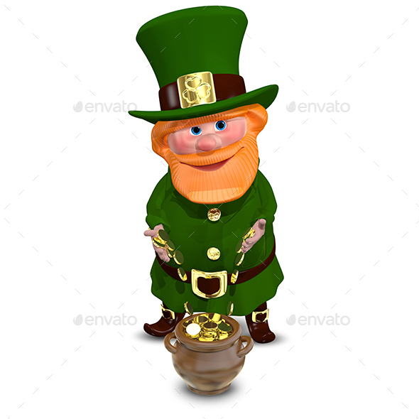 3D Illustration of Saint Patrick with Gold Coins - Characters 3D Renders