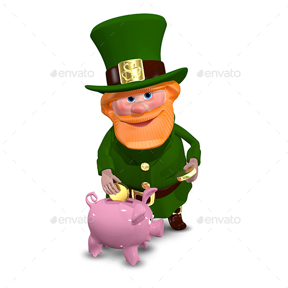 3D Illustration of Saint Patrick with Piggy Bank - Characters 3D Renders