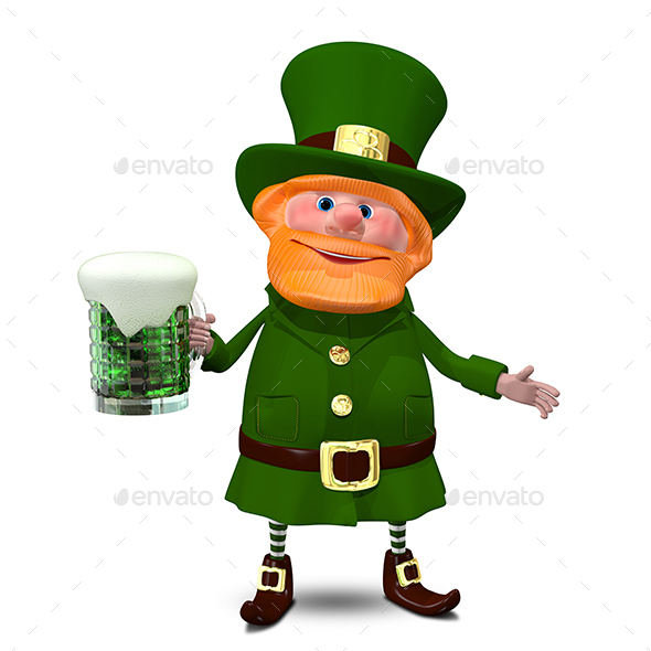 3D Illustration of Saint Patrick with Beer - Characters 3D Renders