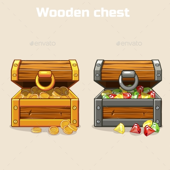 Opened Treasure Chest with Coins and Diamonds - Travel Conceptual