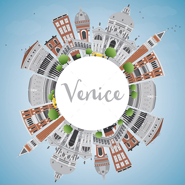 Venice Skyline with Gray and Brown Buildings - Buildings Objects
