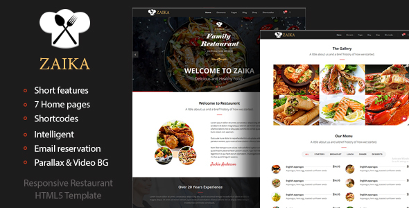 Zaika – Food & Restaurant HTML5 Template