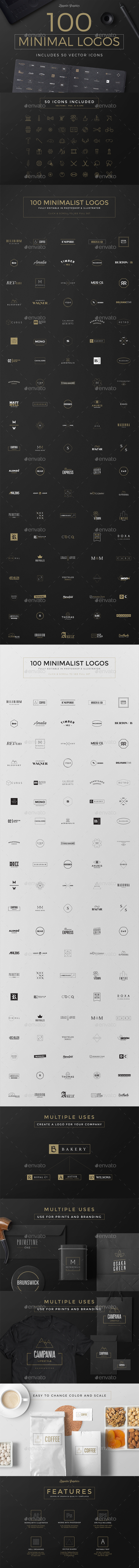 100 Minimal Logos - Badges & Stickers Web Elements