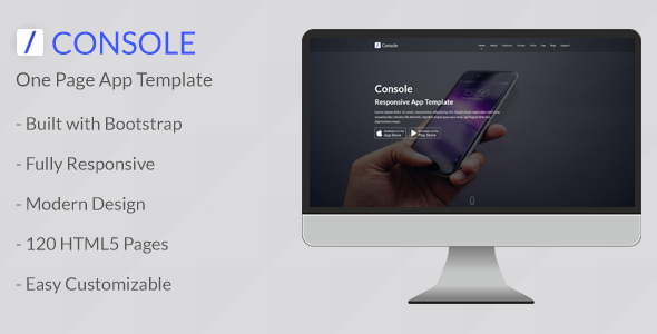 Console – Responsive One Page App Template