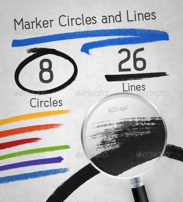 Marker Lines and Circles Pack - Flourishes / Swirls Decorative