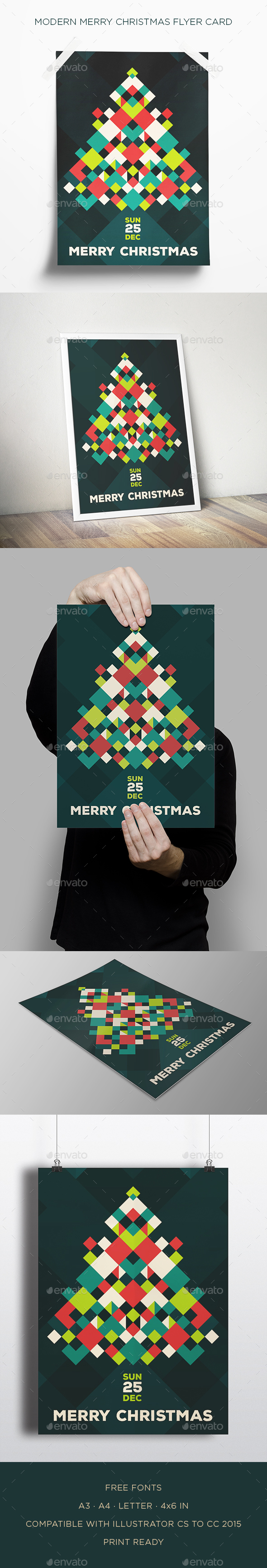 Modern Merry Christmas Flyer Card - Flyers Print Templates