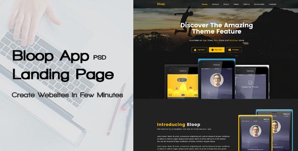 Bloop – PSD App Landing Page