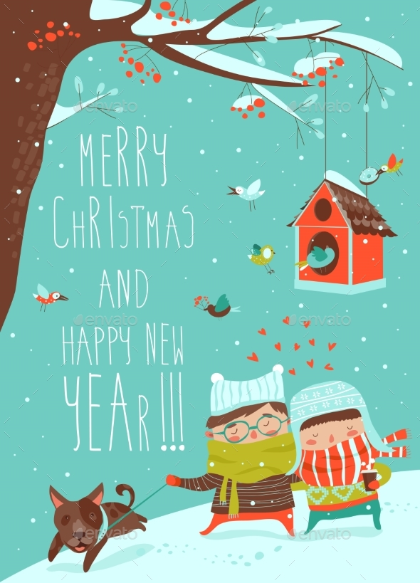 Young Couple Walking with Dog on Leash - Christmas Seasons/Holidays