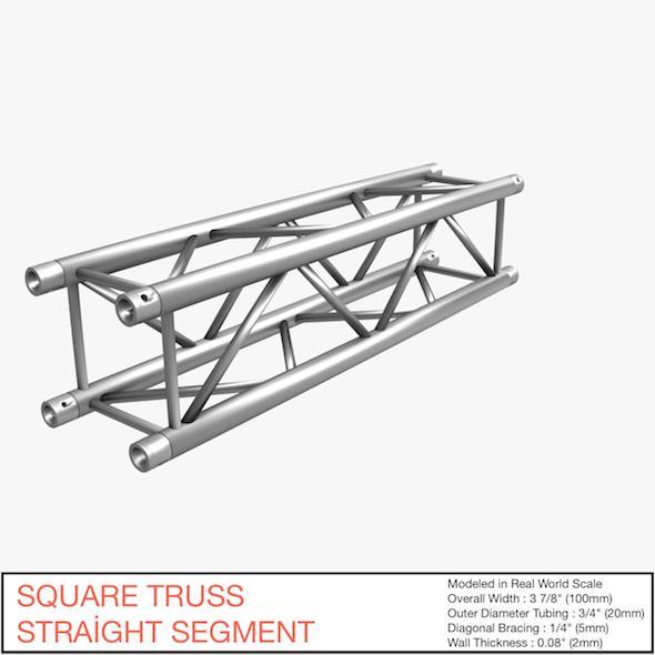 Square Truss Straight Segment 021 - 3DOcean Item for Sale