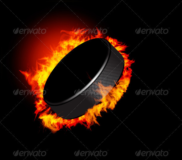 Vector Hockey Puck In The Fire - Sports/Activity Conceptual