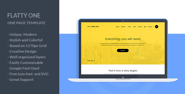 FlattyOne – One Page PSD Template