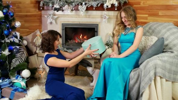 Friends Exchange Christmas Presents New Year\'s Eve, Joyful Beautiful ...