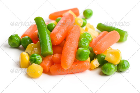 mixed vegetables on white background - Stock Photo - Images