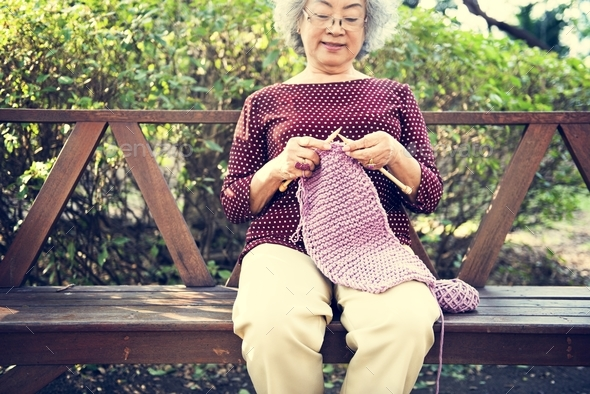 Knitting Knit Needle Yarn Needlework Craft Scarf Concept - Stock Photo - Images
