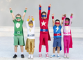 Superheroes Cheerful Kids Expressing Positivity Concept - PhotoDune Item for Sale