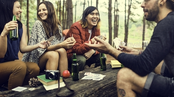 Friends Camping Playing Cards Concept - Stock Photo - Images