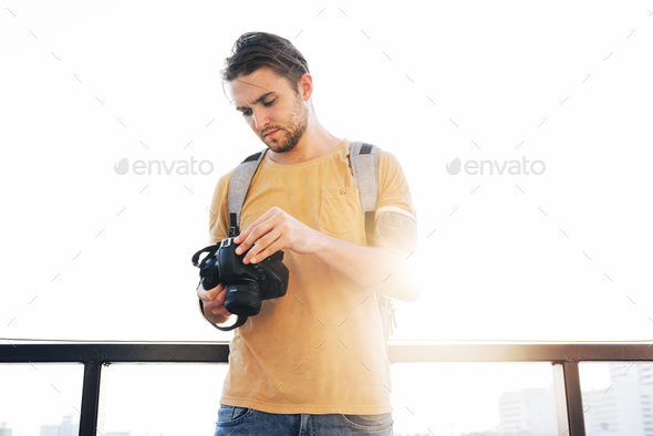 Photographer Camera DSLR Shooting Journalist Concept - Stock Photo - Images