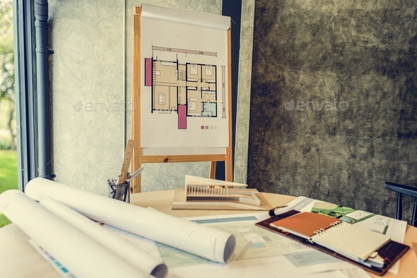 Design Studio Architect Creative Occupation Blueprint Office Con - Stock Photo - Images