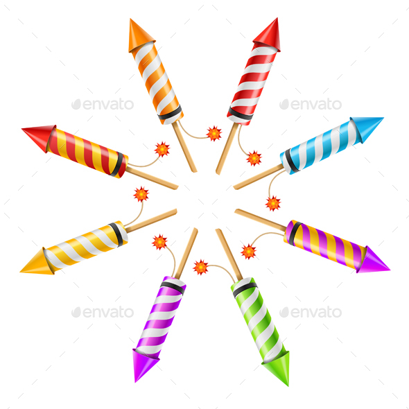 Fireworks Rocket Set in the Form of a Circle. Vector - Seasons/Holidays Conceptual