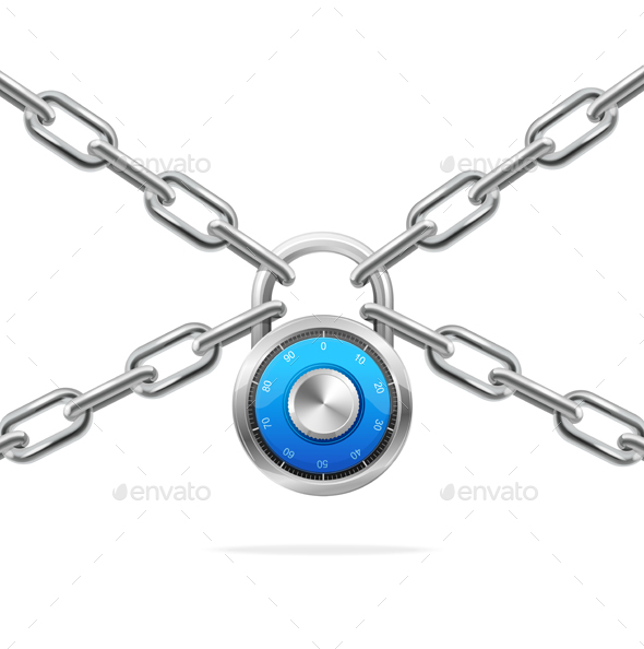 Blue Combination Padlock and Metal Chain. Vector - Conceptual Vectors