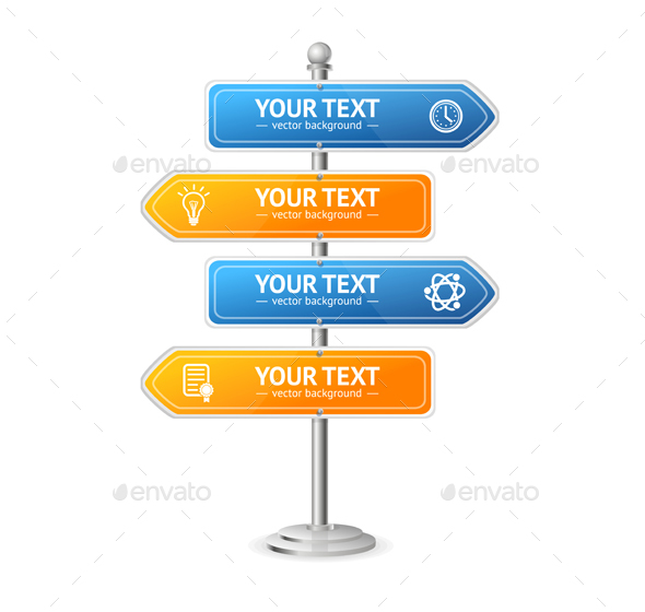 Road and Street Sign Menu. Vector - Travel Conceptual