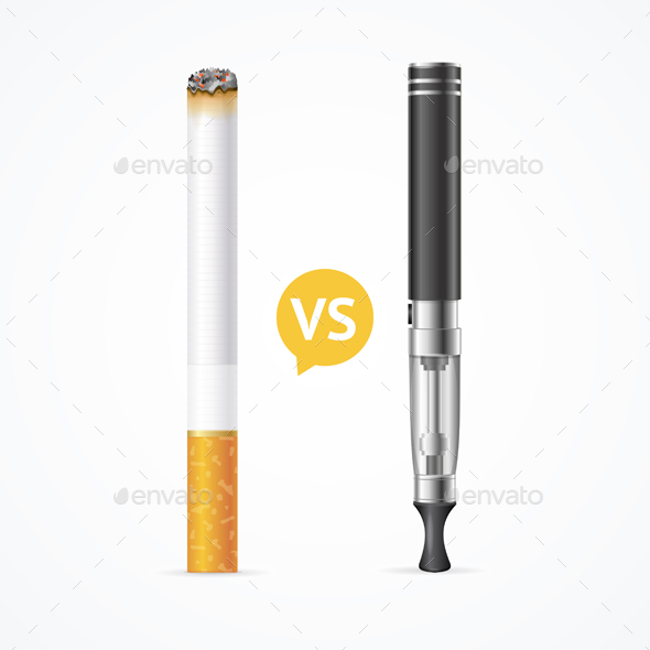 Smoking vs Vaping. Vector - Conceptual Vectors