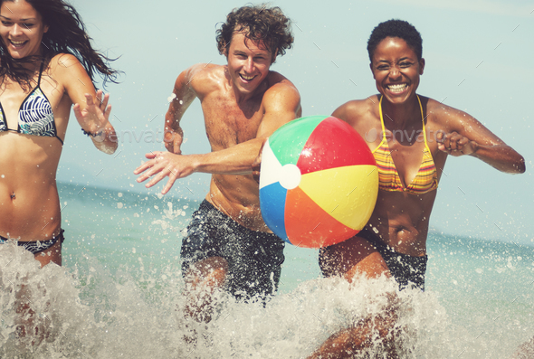 Beach Ball Sunshine Vacation Tropical Summer Concept - Stock Photo - Images