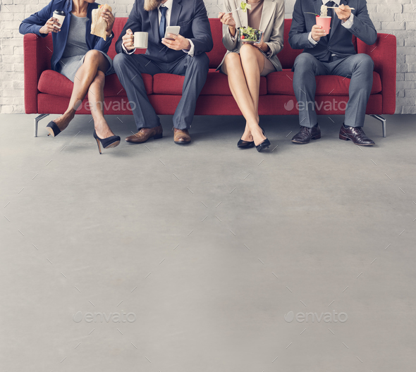 Business Team Working Break Eating Lunch Concept - Stock Photo - Images