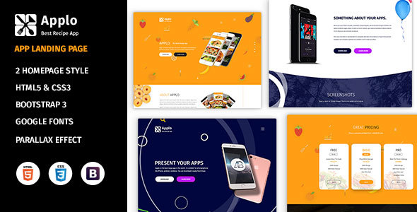 Applo - Application, Product, Food, and Recipe Marketing Landing Page by decentthemes