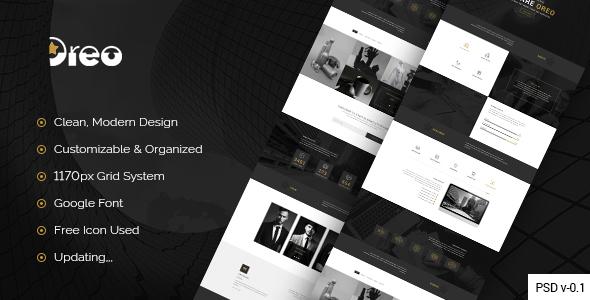 Oreo – Creative Landing Page PSD Template