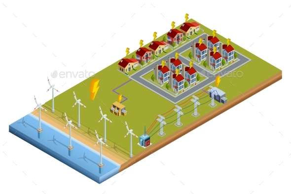 Electric Power Generation Station Isometric Layout - Buildings Objects