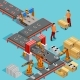 Automated Factory Production Line Isometric