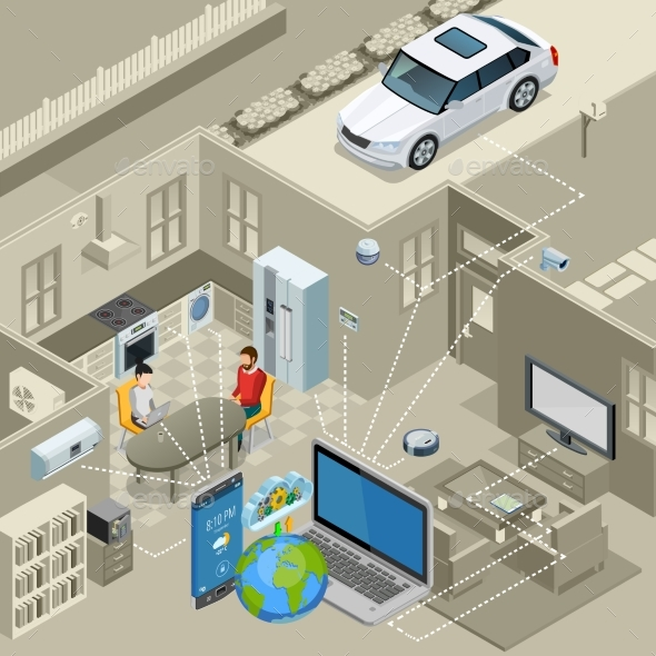 Internet Of Things Concept Isometric Poster - Technology Conceptual