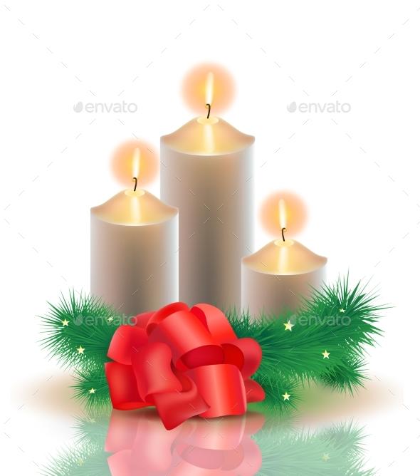 Vector Realistic Illustration. 3 Burning Golden - Christmas Seasons/Holidays