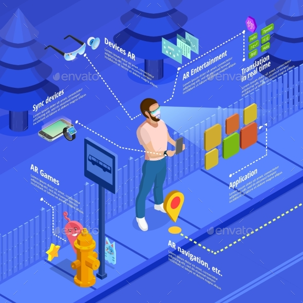 Augmented Reality Navigation Game Isometric Poster - Technology Conceptual