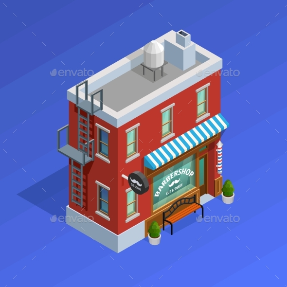 Barbershop Building Concept - Services Commercial / Shopping