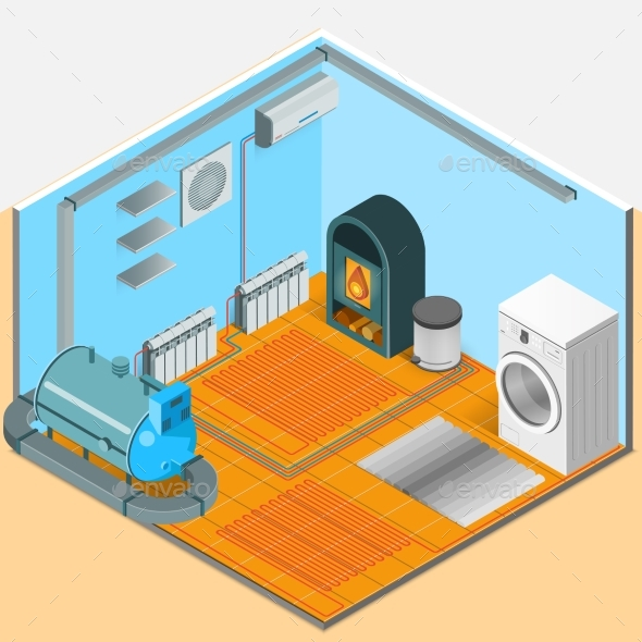 Heating Cooling System Interior Isometric Template - Abstract Conceptual
