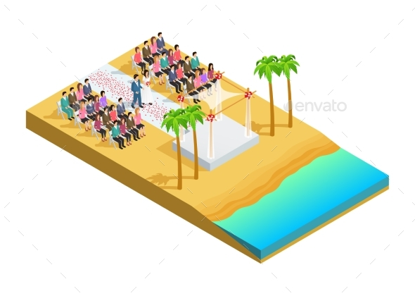 Wedding Ceremony Isometric Composition - Abstract Conceptual