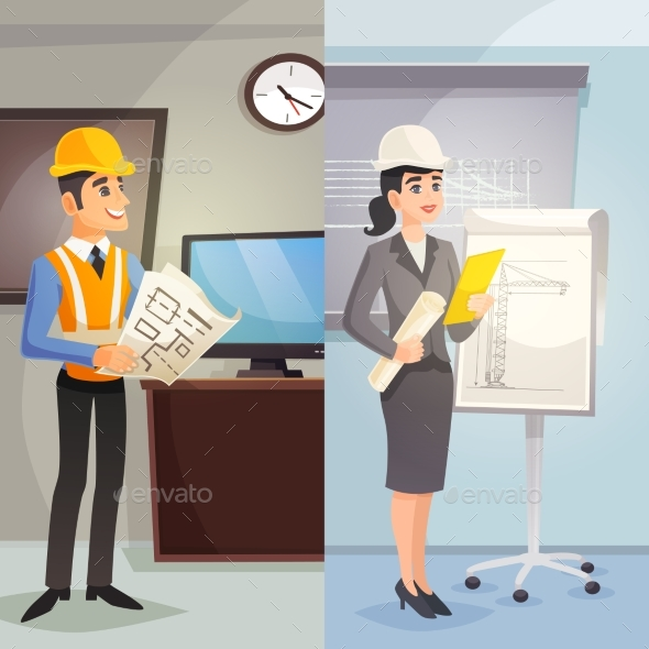 Engineer Cartoon Vertical Banners - Abstract Conceptual