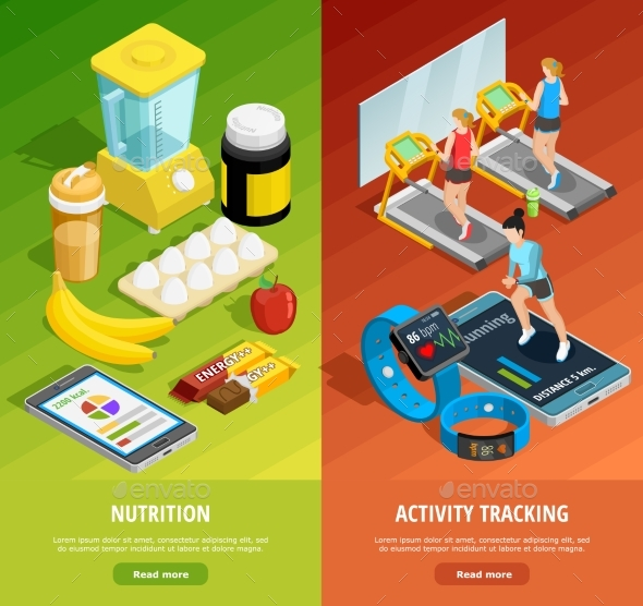 Colorful Gym Isometric Vertical Banners - Backgrounds Decorative