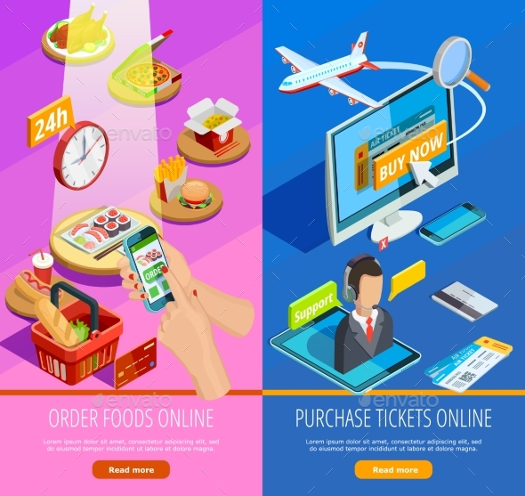 Online Shopping E-commerce Isometric Banners - Commercial / Shopping Conceptual