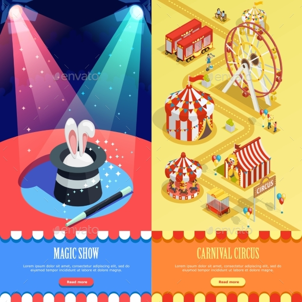 Circus Isometric Vertical Banners Webpage Design - Miscellaneous Vectors