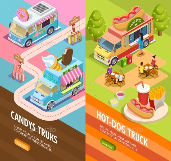 Food Trucks 2 Vertical  Isometric Banners - Business Conceptual