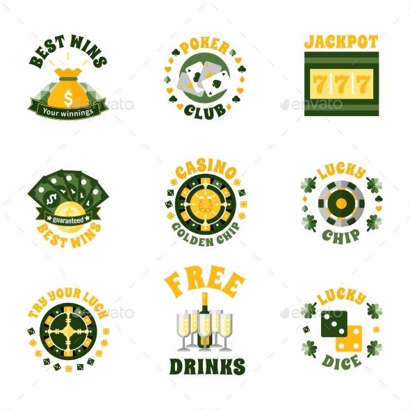 Casino Icons Badges Set - Decorative Vectors