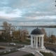 Aerial Shot Pavilion of Ostrovsky on the Volga River - VideoHive Item for Sale