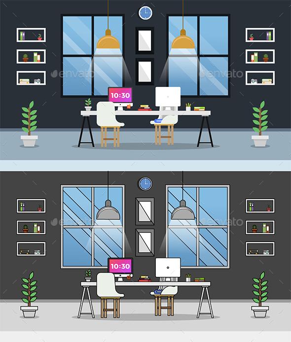 Set of Modern Workplace Flat Illustration Vol.1 - Backgrounds Business