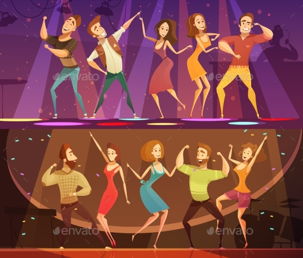 Night Club Disco Dance  Banners Set - People Characters
